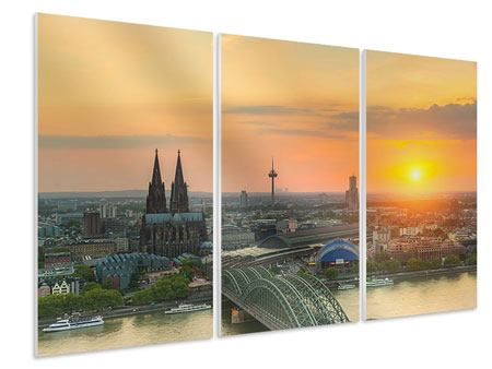 3 Piece Forex Print Skyline Cologne At Sunset