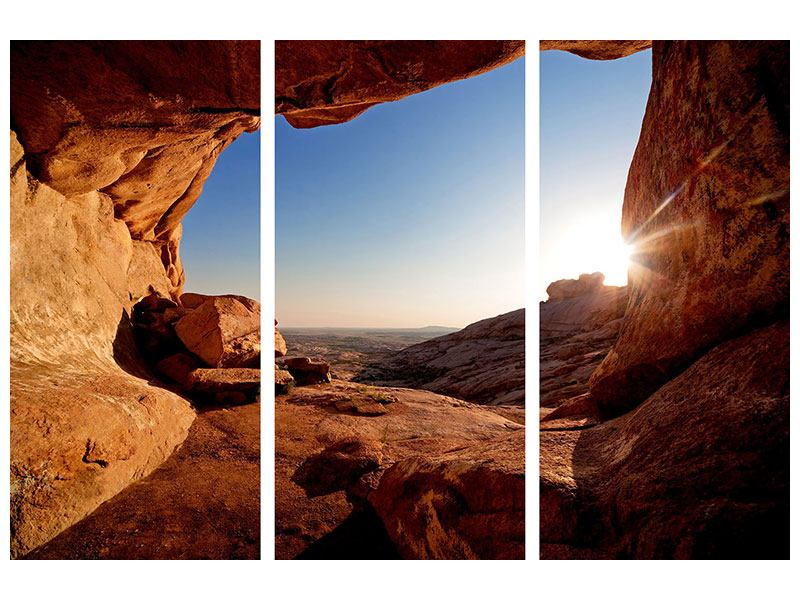3 Piece Forex Print Sunset In Front Of The cave