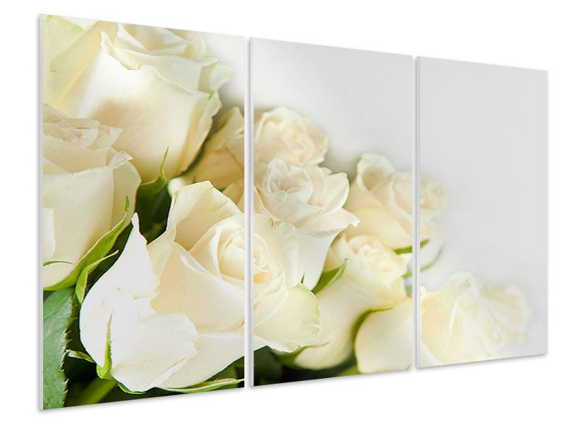 Tableau Forex en 3 parties Roses blanches