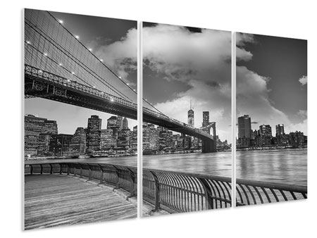3 Piece Forex Print Skyline Black And White Photography Brooklyn Bridge NY
