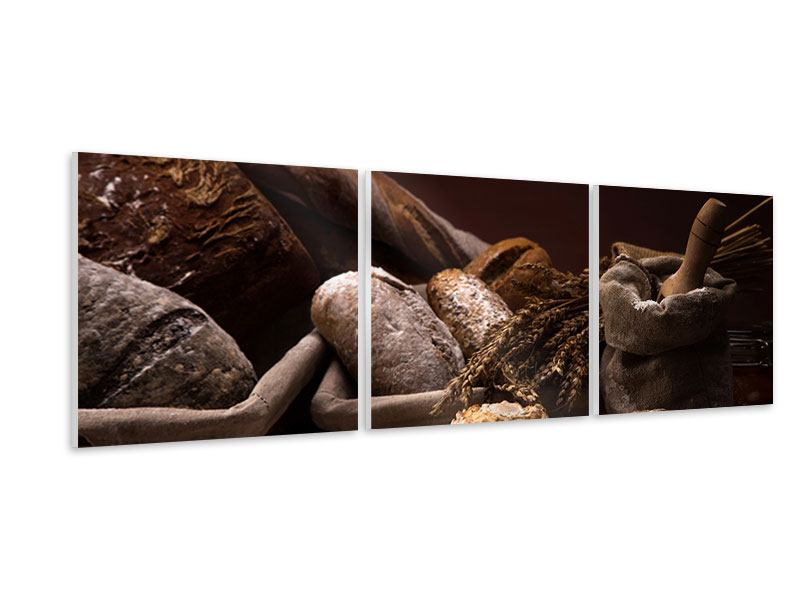 Panoramic 3 Piece Forex Print Bread Bakery