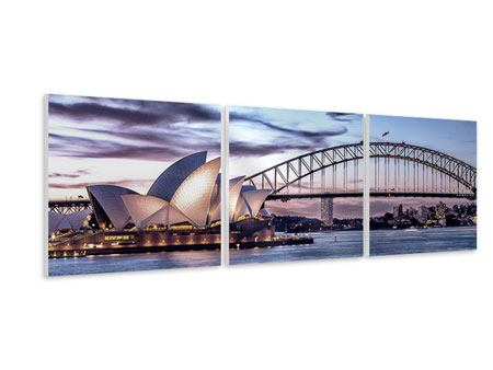 Panoramic 3 Piece Forex Print Skyline Sydney Opera House