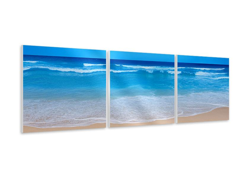 Panoramic 3 Piece Forex Print Gentle Beach Waves