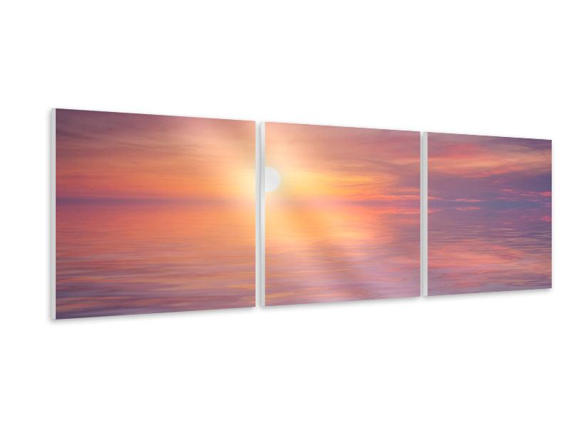 Panoramic 3 Piece Forex Print Sunset by the Lake