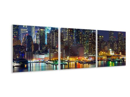 Panoramic 3 Piece Forex Print Skyline New York Midtown At Night