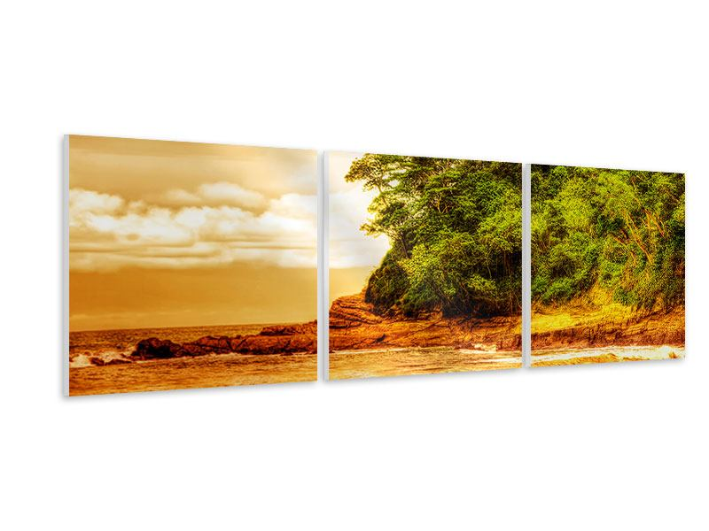 Panoramic 3 Piece Forex Print Sunset At The End Of The Forest