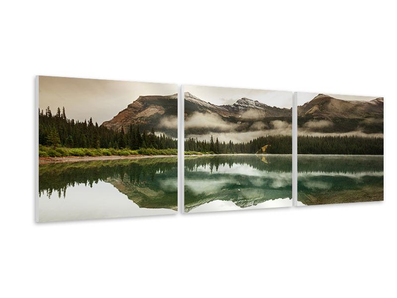 Panoramic 3 Piece Forex Print Reflection In Glacier National Park