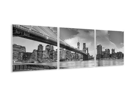 Panoramic 3 Piece Forex Print Skyline Black And White Photography Brooklyn Bridge NY