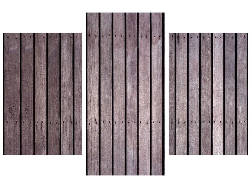 Modern 3 Piece Forex Print Wood Wall