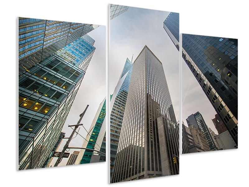 Modern 3 Piece Forex Print Skyscrapers