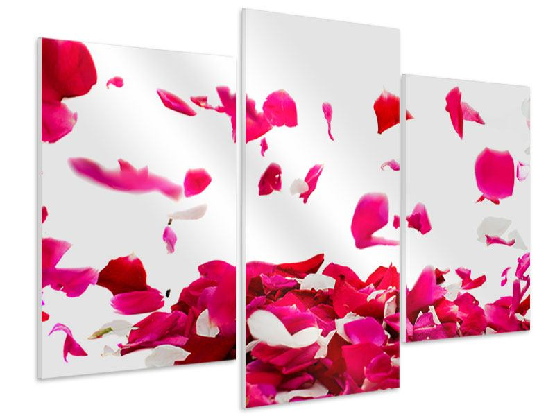 Modern 3 Piece Forex Print Let It Rain Red Roses For Me