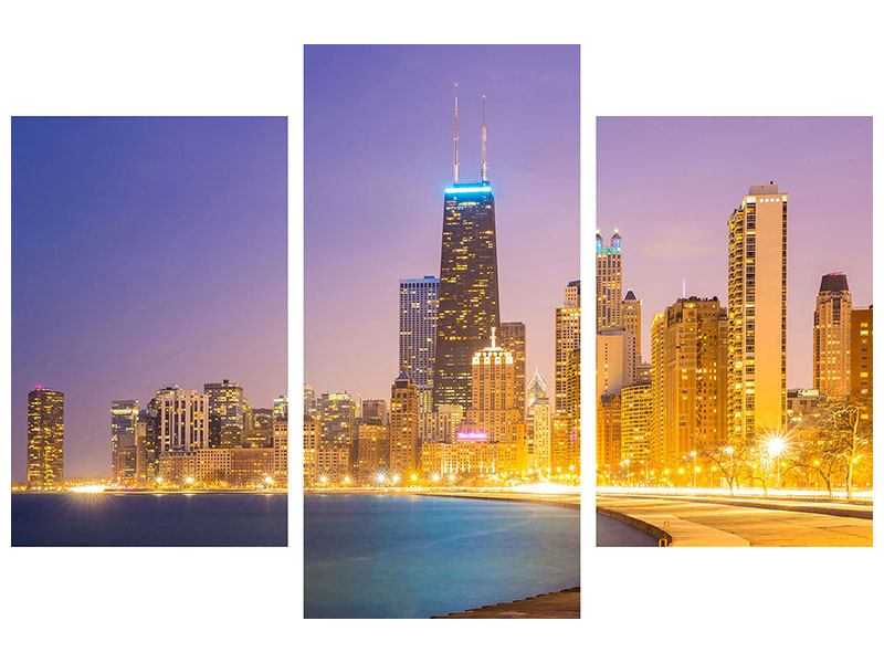 Modern 3 Piece Forex Print Skyline Chicago At Night