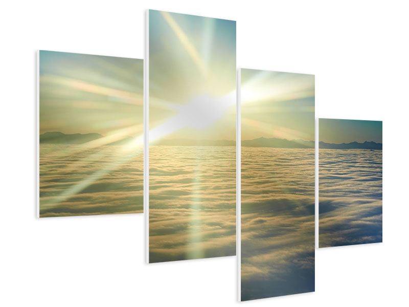 Modern 4 Piece Forex Print Sunrise Above The Clouds