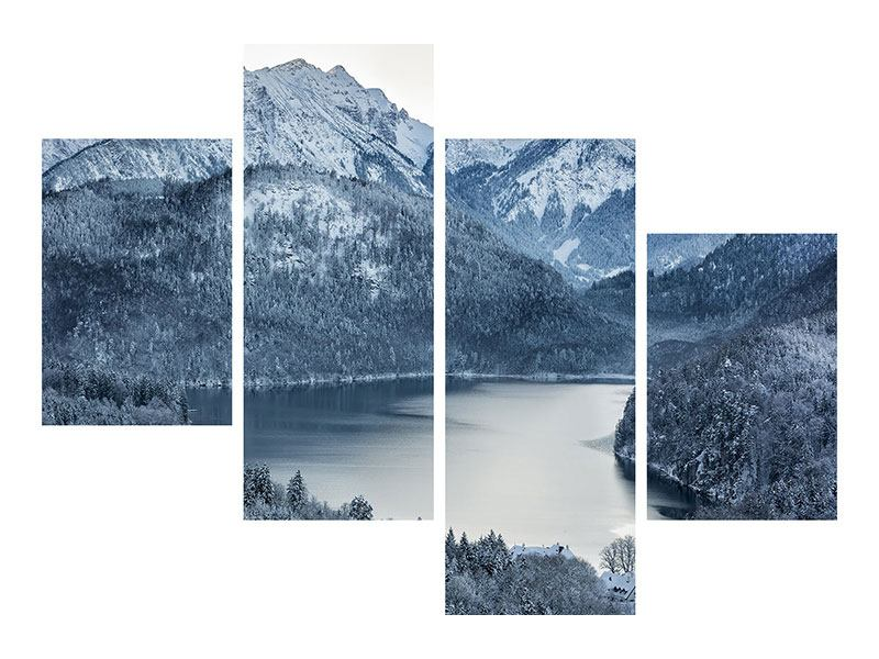 Modern 4 Piece Forex Print Photo Wallaper Mountains In Monochrome