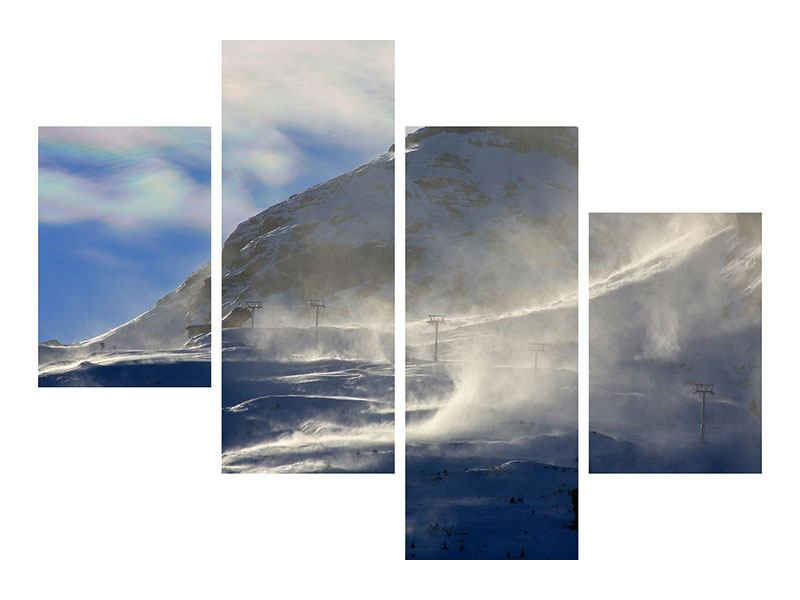 Modern 4 Piece Forex Print Snowdrifts In The Mountains