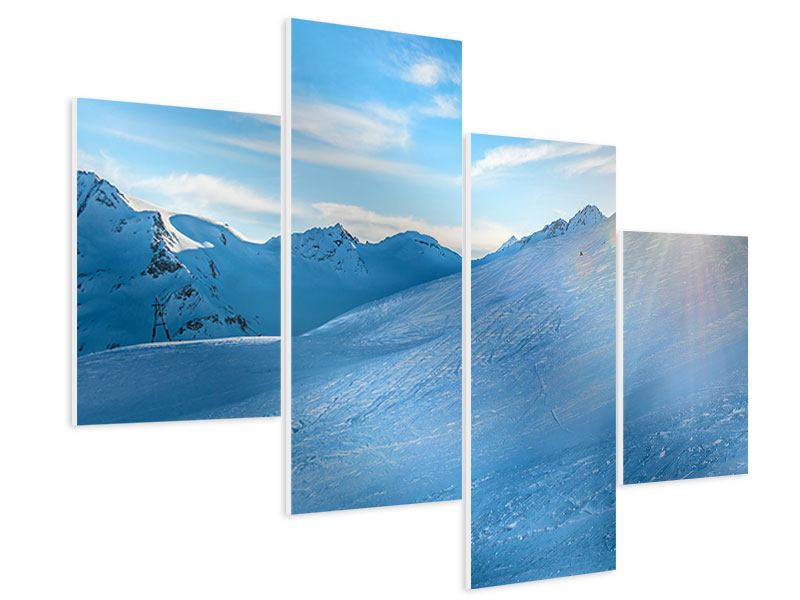 Modern 4 Piece Forex Print Photo Wallaper Sunrise In The Mountains