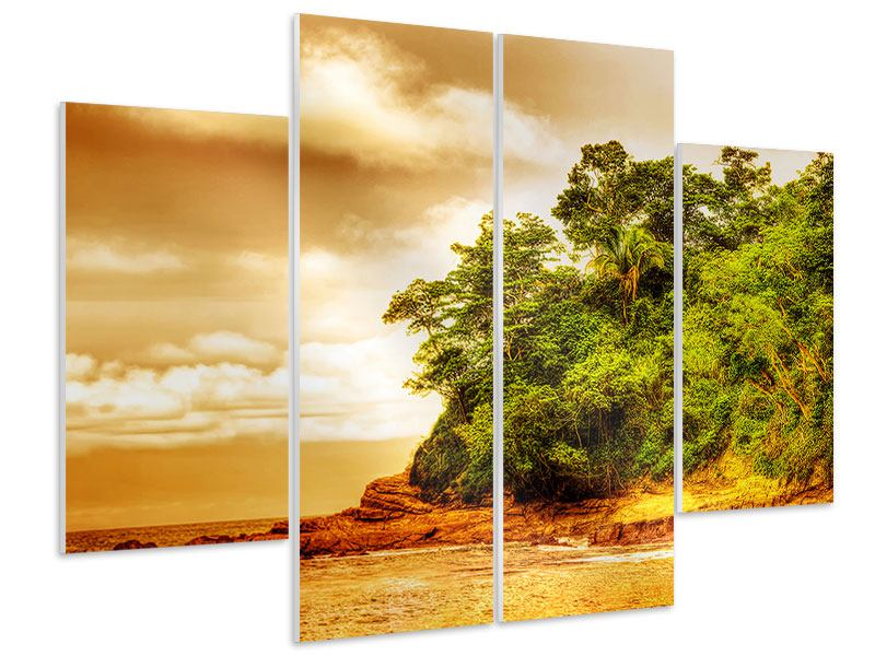 4 Piece Forex Print Sunset At The End Of The Forest