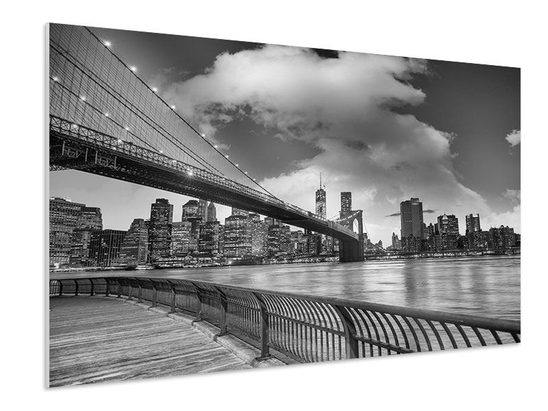 Forex Print Skyline Black And White Photography Brooklyn Bridge NY