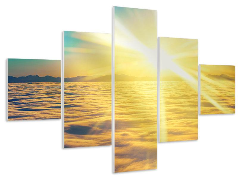 5 Piece Forex Print Sunset Above The Clouds