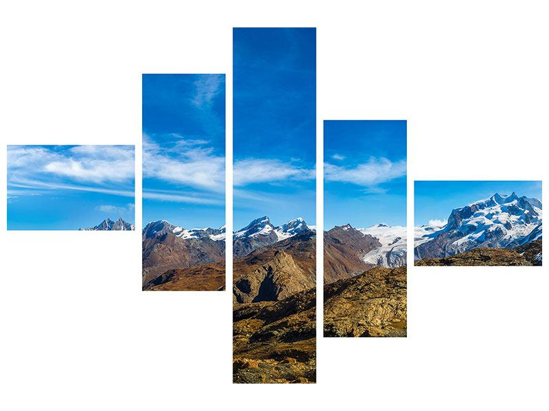 Modern 5 Piece Forex Print Swiss Alps In Spring