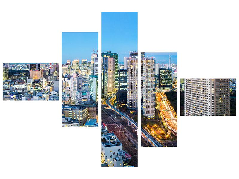 Modern 5 Piece Forex Print Skyline Tokyo In Sea Of Light