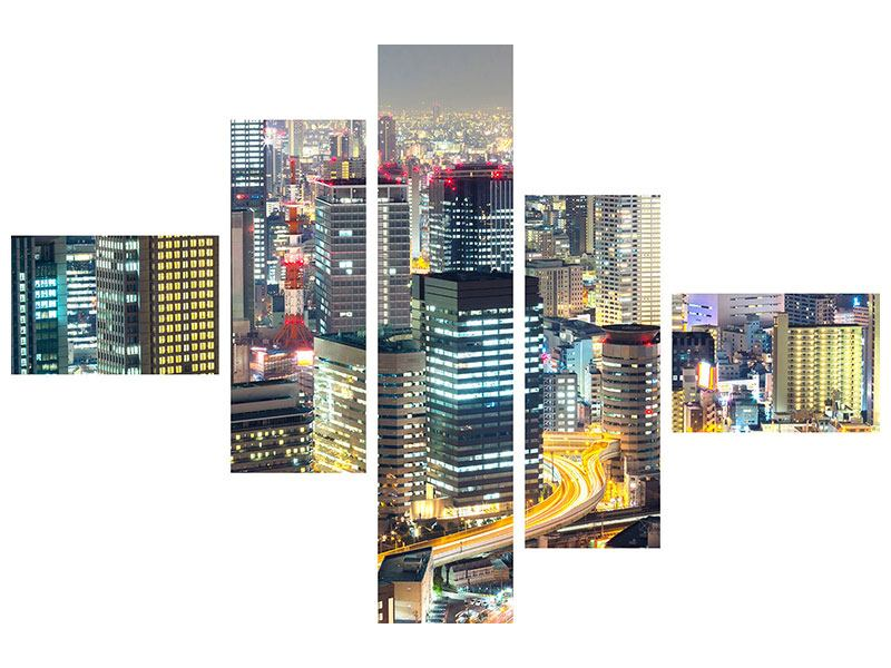 Modern 5 Piece Forex Print Skyline Osaka In Sea Of Lights