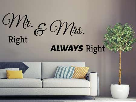 Sticker muraux Mr. Right & Mrs. Allways Right