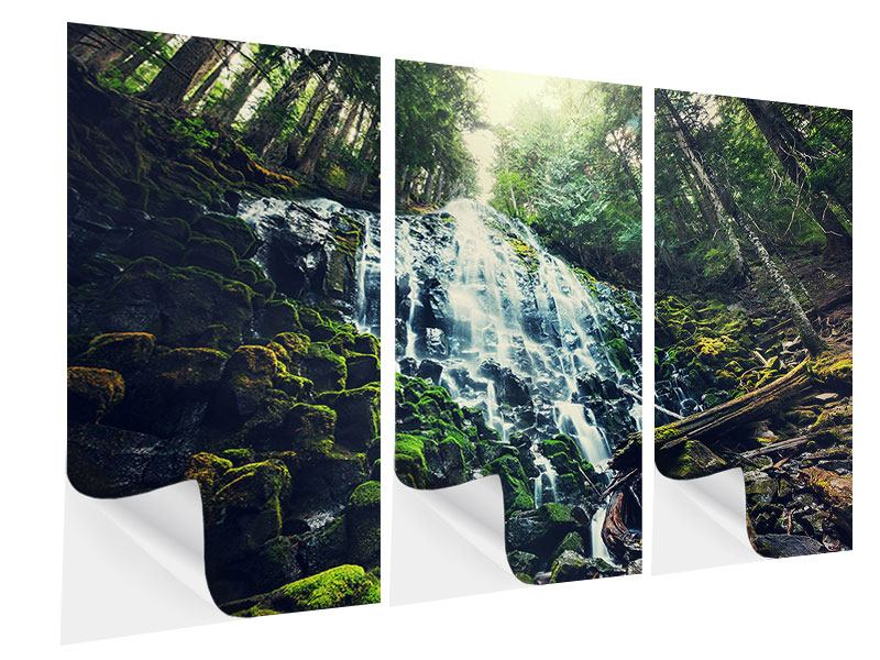 3 Piece Self-Adhesive Poster Feng Shui & Waterfall