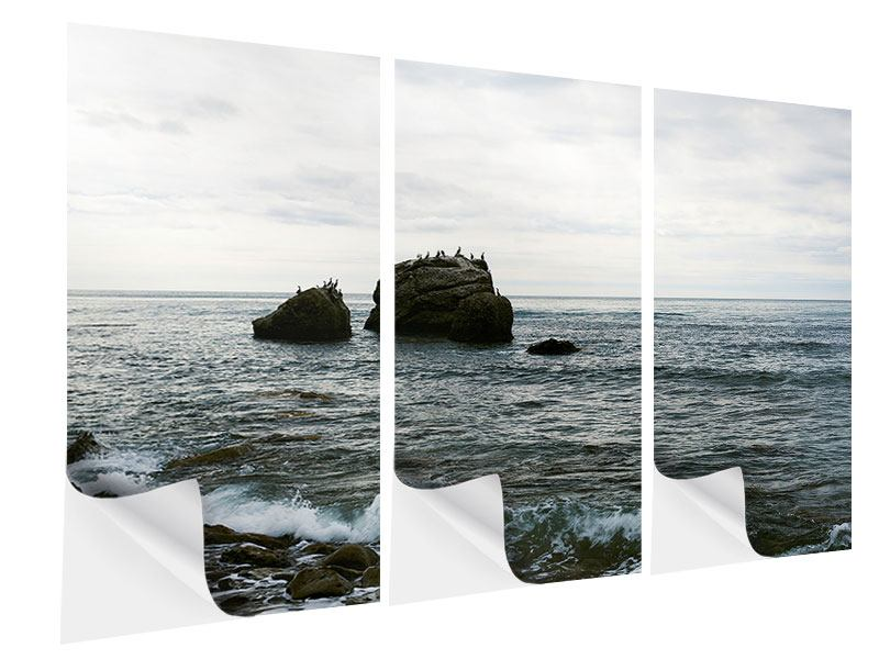 3 Piece Self-Adhesive Poster Silent Waves