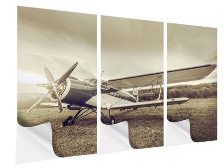 3 Piece Self-Adhesive Poster Nostalgic Aircraft In Retro Style
