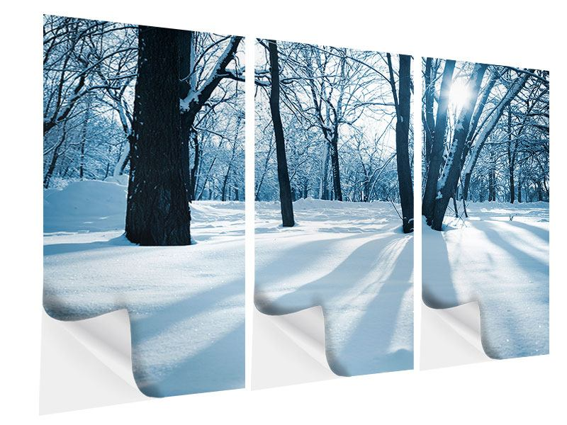 3 Piece Self-Adhesive Poster The Forest Without Tracks In The Snow