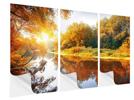 3 Piece Self-Adhesive Poster Forest Reflection In Water