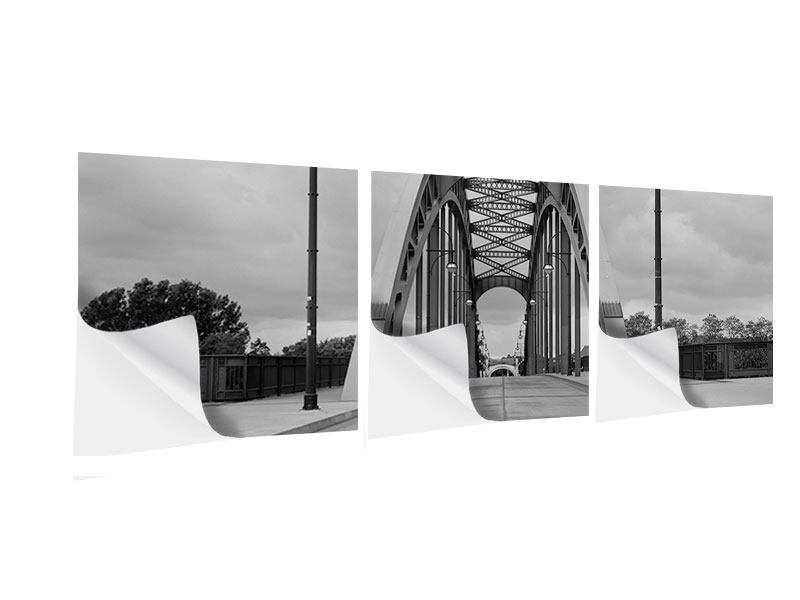 Panoramic 3 Piece Self-Adhesive Poster Poetic Bridge
