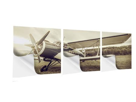 Panoramic 3 Piece Self-Adhesive Poster Nostalgic Aircraft In Retro Style
