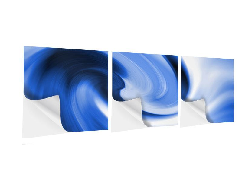 Panoramic 3 Piece Self-Adhesive Poster Abstract Blue Wave
