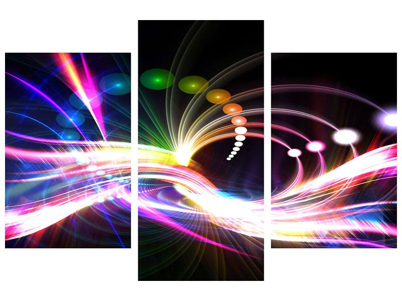Modern 3 Piece Self-Adhesive Poster Abstract Light Reflections