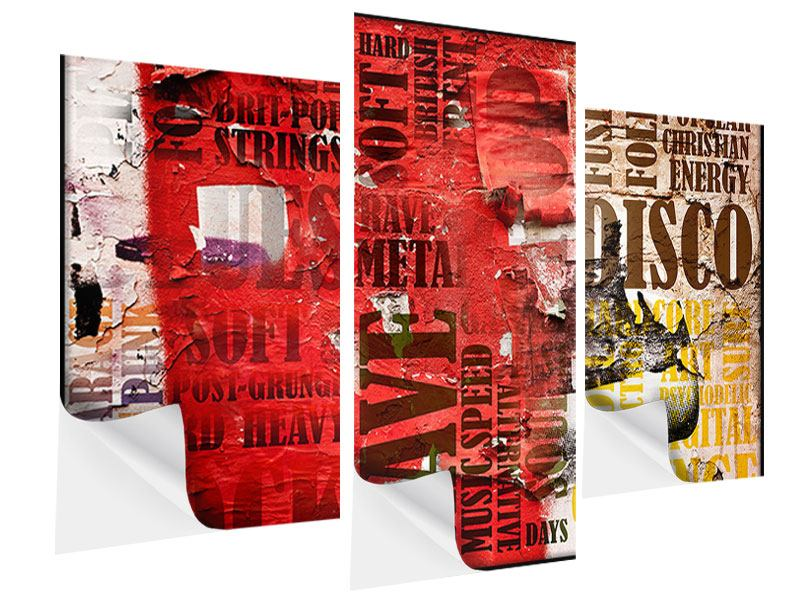 Modern 3 Piece Self-Adhesive Poster Music Text In Grunge Style