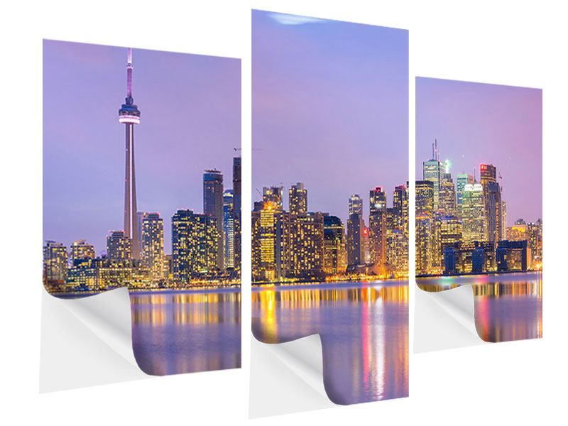Modern 3 Piece Self-Adhesive Poster Skyline Toronto At Night