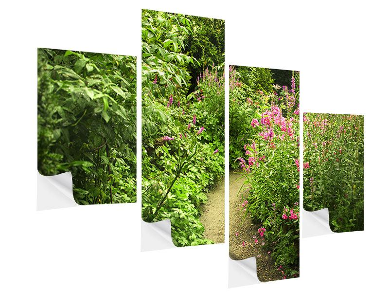 Modern 4 Piece Self-Adhesive Poster Garden Path