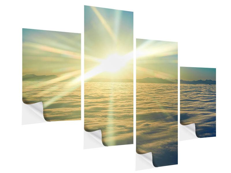 Modern 4 Piece Self-Adhesive Poster Sunrise Above The Clouds