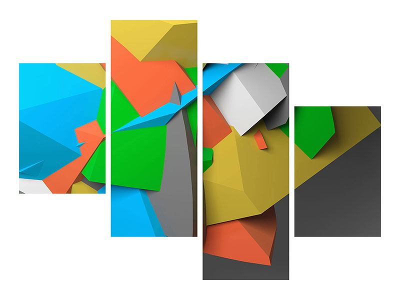 Modern 4 Piece Self-Adhesive Poster 3D-Geometric Figures