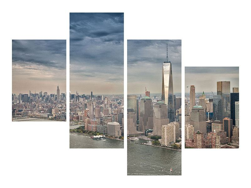 Modern 4 Piece Self-Adhesive Poster Skyline Manhattan