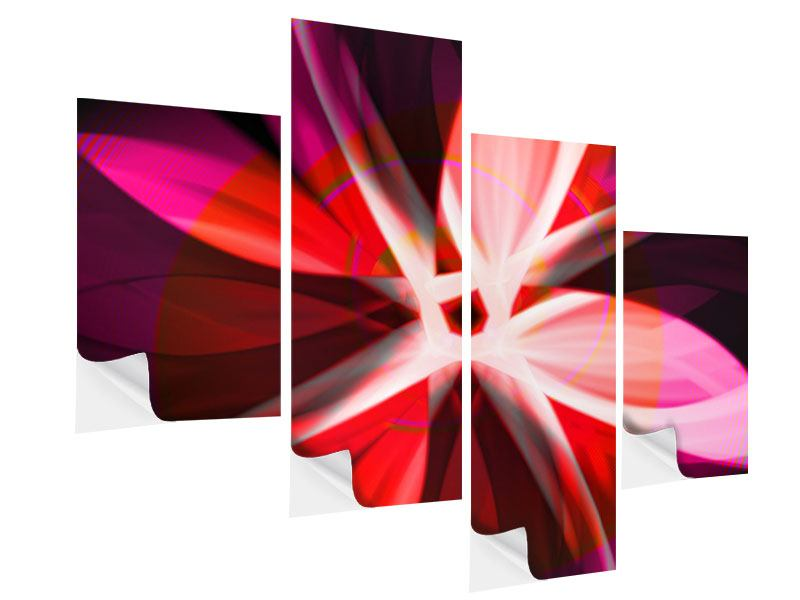 Modern 4 Piece Self-Adhesive Poster Abstract Flower Power