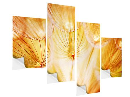 Modern 4 Piece Self-Adhesive Poster Close Up Dandelion In Light
