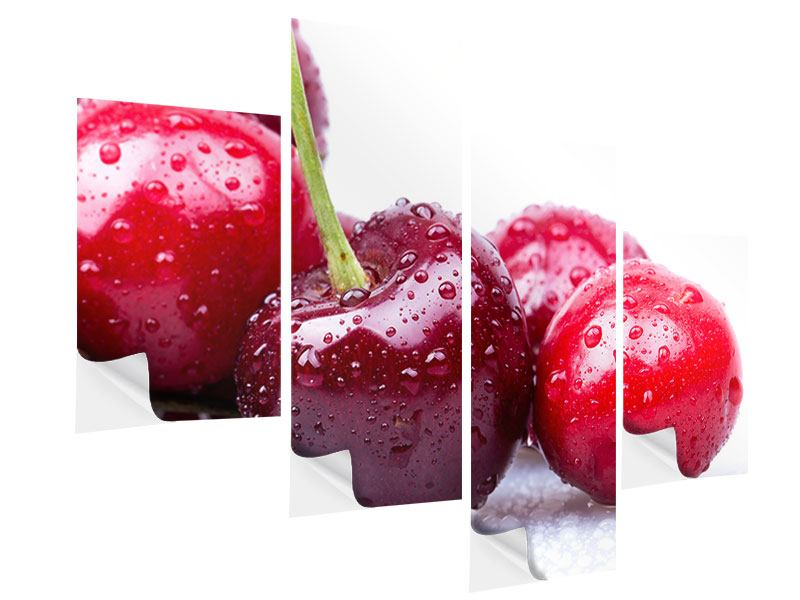 Modern 4 Piece Self-Adhesive Poster Cherries