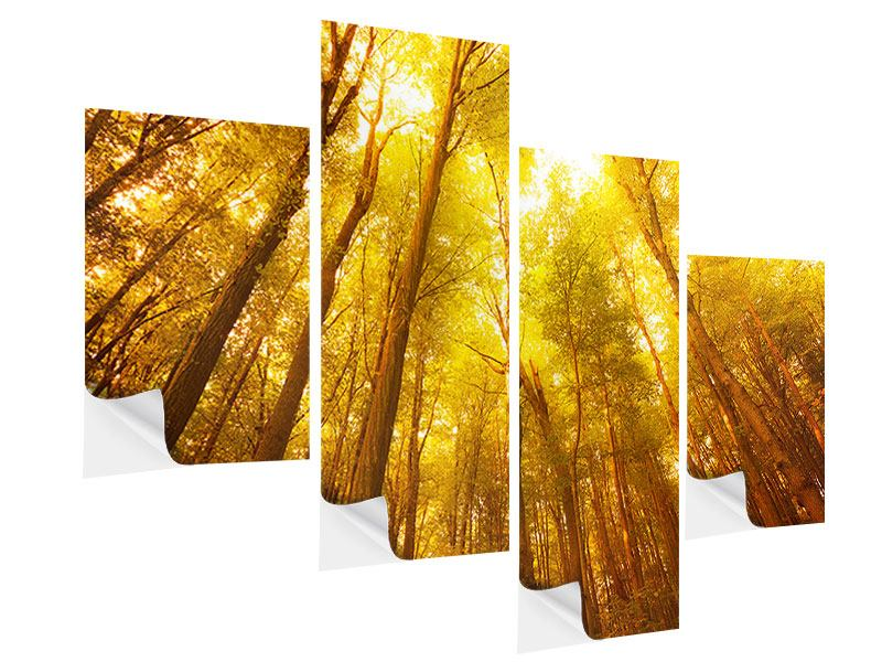 Modern 4 Piece Self-Adhesive Poster Autumn Forest