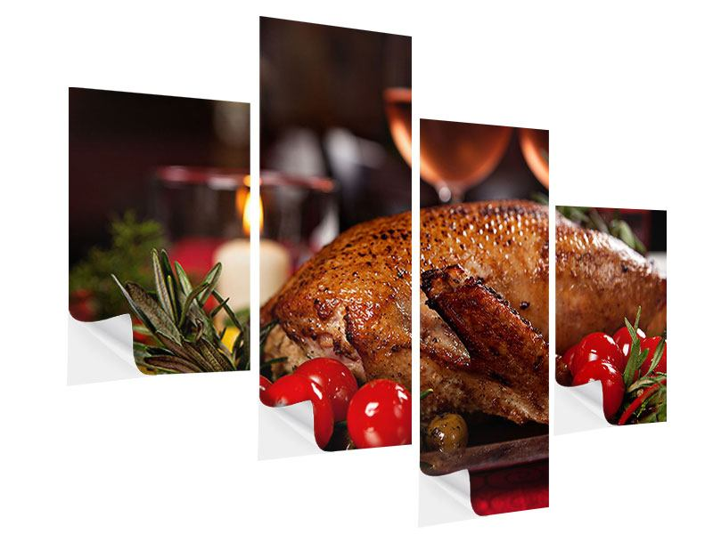 Modern 4 Piece Self-Adhesive Poster Delicious Poultry