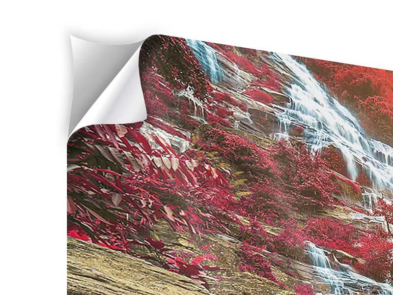 Modern 4 Piece Self-Adhesive Poster Exotic Waterfall