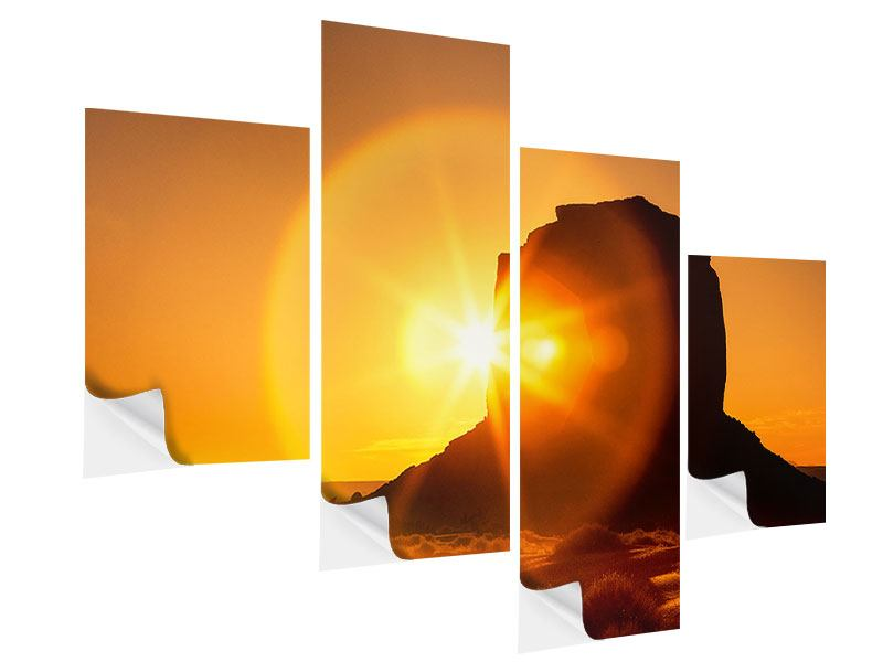 Modern 4 Piece Self-Adhesive Poster Sunset Monument Valley