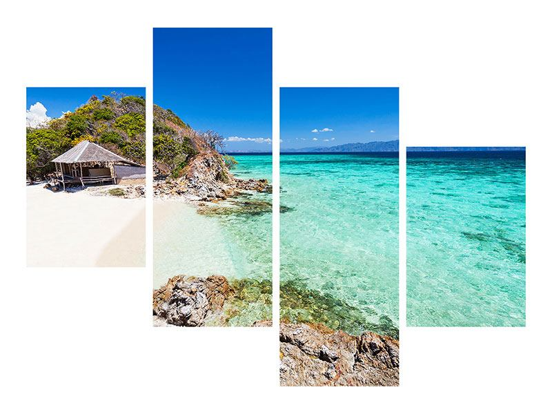 Modern 4 Piece Self-Adhesive Poster The House On The Beach